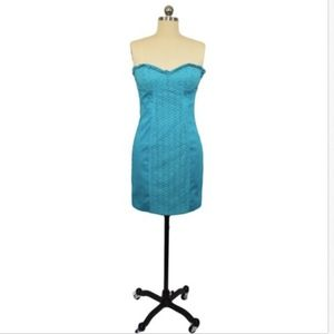 bebe Turquoise Strapless Dress Small